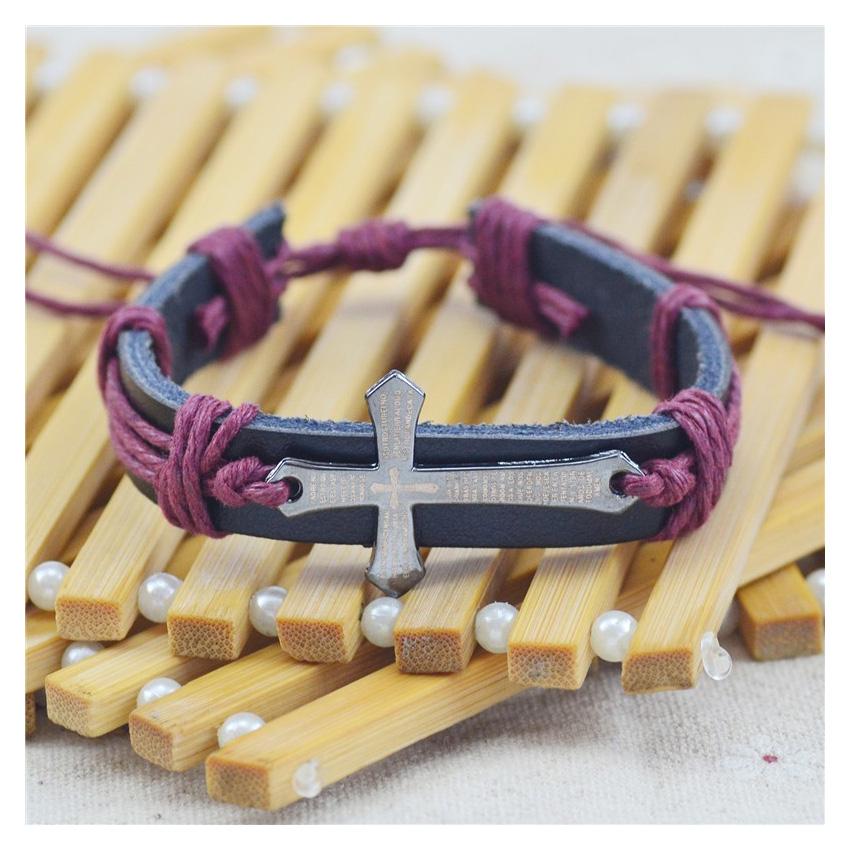 Кожаный браслет с крестом купить